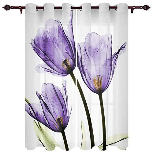 "Fandim Fly Semi Sheer Window Curtains Image of Tulips, Purple Flower Florals Window Curtain Grommet Panels for Bedroom & Living Room, 2 Panels, 52""x63"""