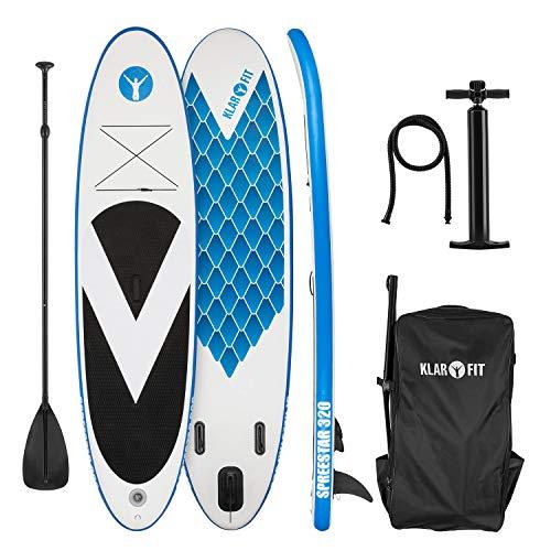 KLAR FIT Klarfit Spreestar 320 - Tabla de pie Hinchable, Paddleboard, Paddle Surf, Sup 320 x 12 x 81 cm, Bomba de Aire, Pala, Correa Seguridad, Mochila de Transporte, Kit reparación, Azul-Blanco