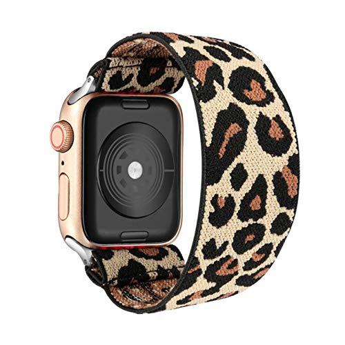 Banda de reloj elástica para Apple Watch 5 6 4 Scrunchie Band 38mm 40mm 42mm 44mm Pulsera de correa informal para mujer para Iwatch Series 6 5 4,light leopard,38MM or 40MM SM