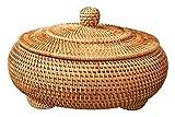 Cesta de almacenamiento Mano tejido de ratán tejido con cubierta redondo Color primario Joyas chinas Snacks Juego de té Caja de almacenamiento 22x13cm Caja de almacenamiento de té Caddy Tea Caddy Set