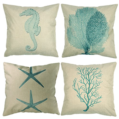 "Luxbon Set of 4 Pcs Nautical Decor Seaside Themed Cotton Linen Light Green Seahorse Coral Starfish Seaweed Throw Pillow Cases Sofa Couch Chair Decorative Cushion Covers 18""x18""/45x45cm"