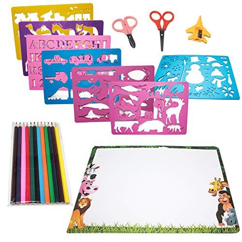 Moji Toys Set di Stencil per Disegno - Confezione da 15 Pezzi - Grande assortimento di Forme, Carta, pastelli ECC. - Perfetto per Tutti i Bambini - Educativo e Divertente - Regalo di Natale Ideale