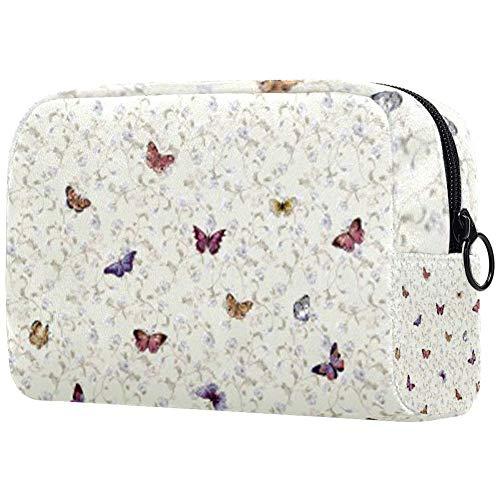 Trousse de toilette portable pour femme - Sac à main - Organisateur de voyage - Papillons envoûtants