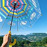 YSVSPRF Paraguas Paraguas Transparente Arco Iris Paraguas Nube Seguridad niños Paraguas Grueso Mango Largo Chicos y niñas Kindergarten Paraguas (Color : Note)