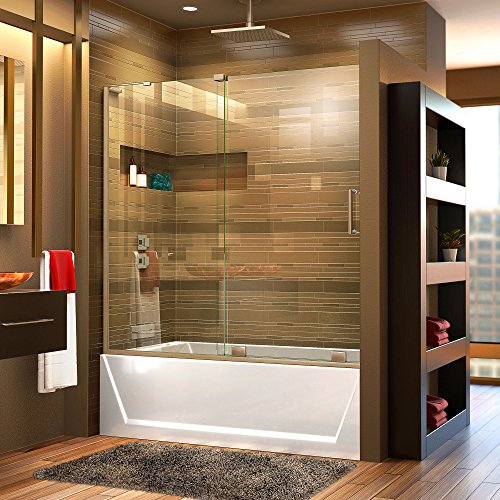 DreamLine Mirage-X 56-60 in. W x 58 in. H Frameless Sliding Tub Door in Brushed Nickel; Left Wall Installation, SHDR-1960580L-04