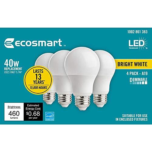 EcoSmart 40-Watt Equivalent A19 Dimmable Energy Star LED Light Bulb Bright White (4-Pack)