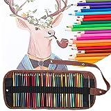 Lápiz de color de artista, lápiz de 36 colores, kit de pintura para estudiantes soluble en agua con bolsa de lona + pincel para escribir, dibujar, adultos y niños