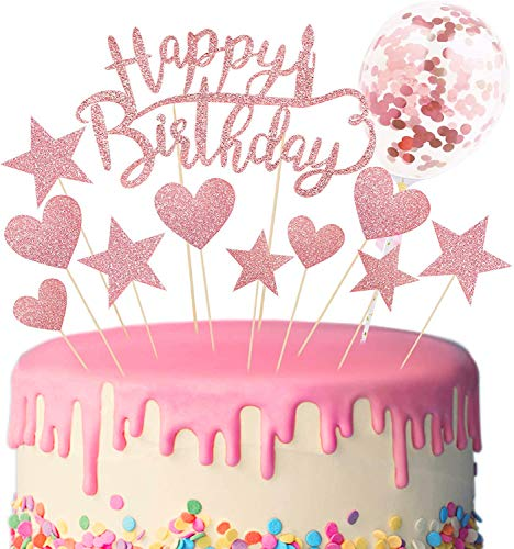 Cake Topper de Cumpleaños Brillante Feliz Cumpleaños Cupcake Topper Decoración de Pastel para Suministros de Pastel de Fiesta de Cumpleaños (Rosado)