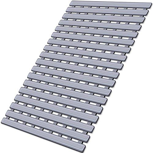 KMAT Shower Mat Non Slip Bathtub Mats Bath Mats for Shower Tub with Suction Cups and Drain Holes,Bathmat Bath Tub Mat (BPA, Latex, Phthalate Free)-Grey