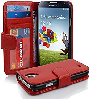 Cadorabo Book Case Works with Samsung Galaxy S4 in Inferno RED – with Magnetic Closure and 3 Card Slots – Wallet Etui Cover Pouch PU Leather Flip