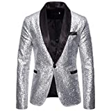 Chaqueta de Traje para Hombres Blazer de Lentejuelas Dorado Traje de Rendimiento Traje Floral con Solapa Blazer de Moda Jacket con Estilo un botón STRIR (S, Plata)