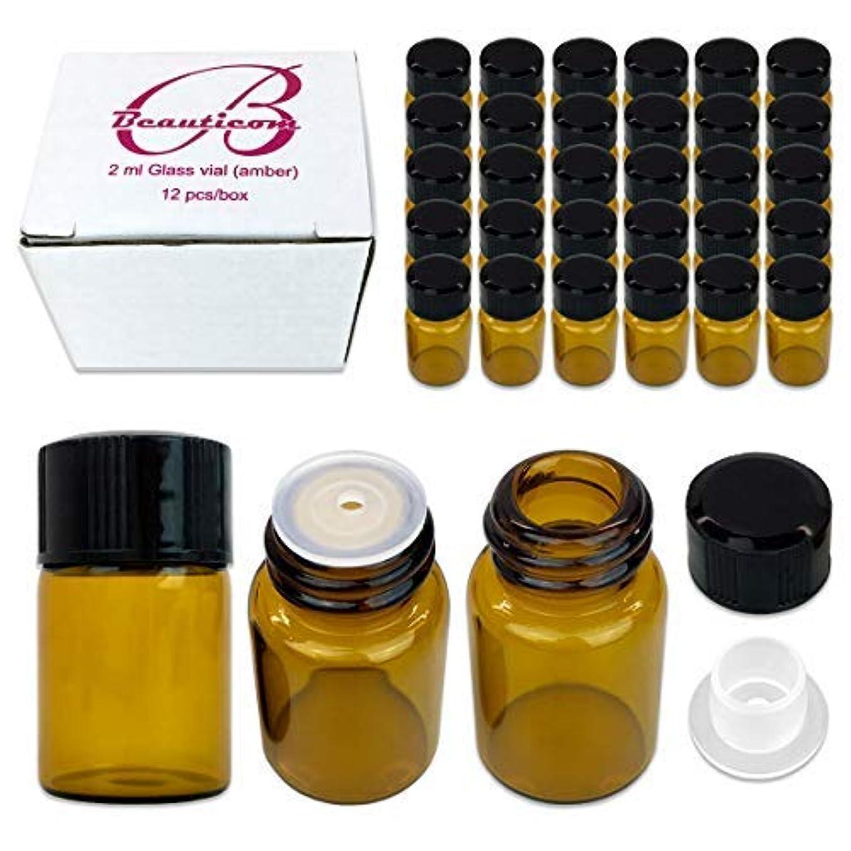 まもなくロバ平手打ち48 Packs Beauticom 2ML Amber Glass Vial for Essential Oils, Aromatherapy, Fragrance, Serums, Spritzes, with Orifice Reducer and Dropper Top [並行輸入品]