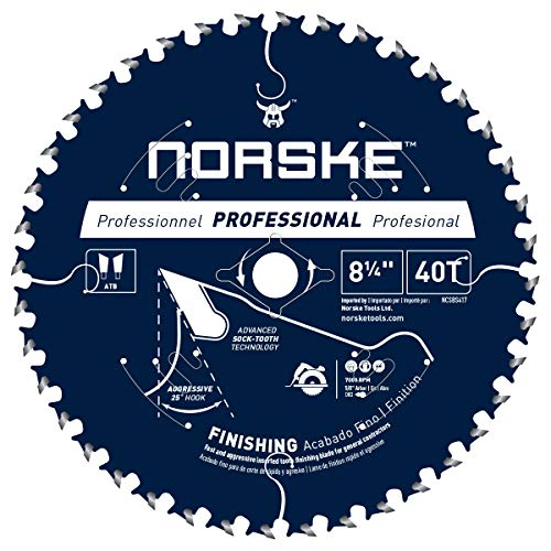 Norske Tools NCSBS417 8-1/4 inch 40T Socktooth Circular Finishing Saw Blade 5/8 inch Bore with Laser Cut Diamond Knockout