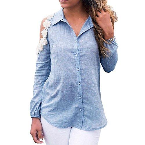 Longra Femmes Sans bretelles Manche longue Off-Shoulder Floral T-shirt Chemisier (XXXL, Bleu)