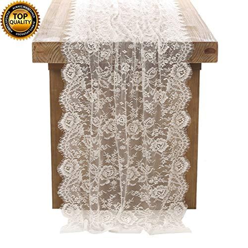 DÉCOCO Weiße Spitze Tischdecke 75 * 300cm in Spitzenauflage Vintage Bestickte Spitzeauflage für Hochzeit Vintage Rezeption Dekor Sommer Outdoor Party Boho Hochzeit Tisch Dekor