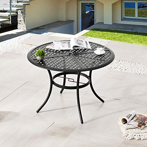 LOKATSE HOME 42.1' Outdoor Round Cast Wrought Iron Patio Metal Dining Table with Umbrella Hole,...