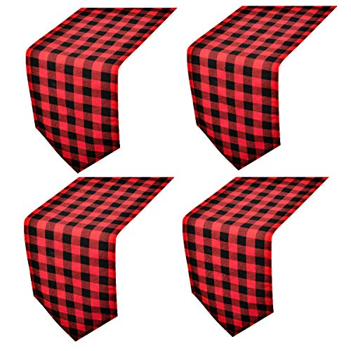 4 Pack Buffalo Check Table Runners Red and Black Plaid Table Runner for Christmas Dinner, Lumberjack Party, Outdoor or Indoor Gatherings Table Home Decorations 12'x72'