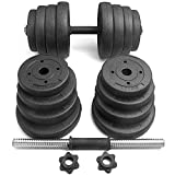 Topeakmart 66.14LB Adjustable Dumbbell Weight Set Home Gym Barbell Plates Muscle Body Training
