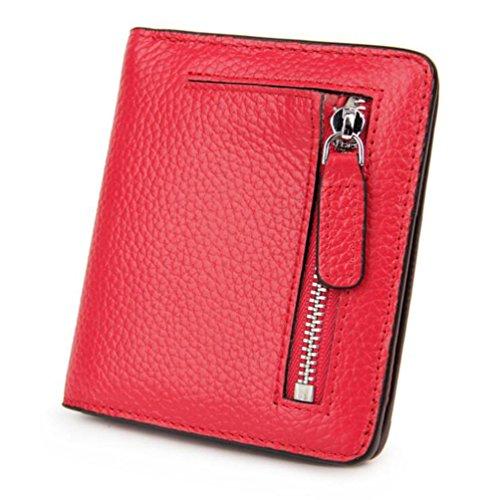 DcSpring RFID Cartera Pequeñas Piel Genuino Monedero Slim Tarjetero de Crédito Mini Cremallera para Mujer (Rojo)