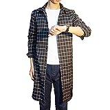 [Make 2 Be] ロング チェックシャツ 長袖 ロング丈 メンズ スリム ネルシャツ MF82 (03.Black_XL)