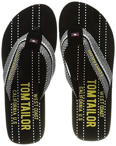 Tom Tailor 1170301 Flipflop, Black-White-Yellow, 40 EU