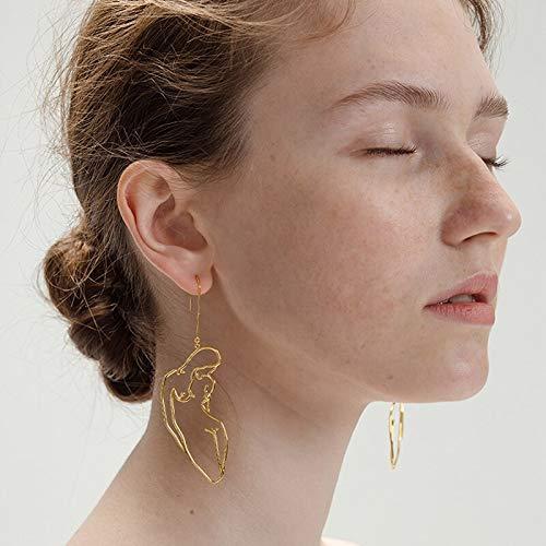 GMZOO Qualität Lady Body Dangle Ohrringe für Frauen Hot Original Design Lange Figur Umriss Aussage Ohrringe Femme BijouxGold-Farbe