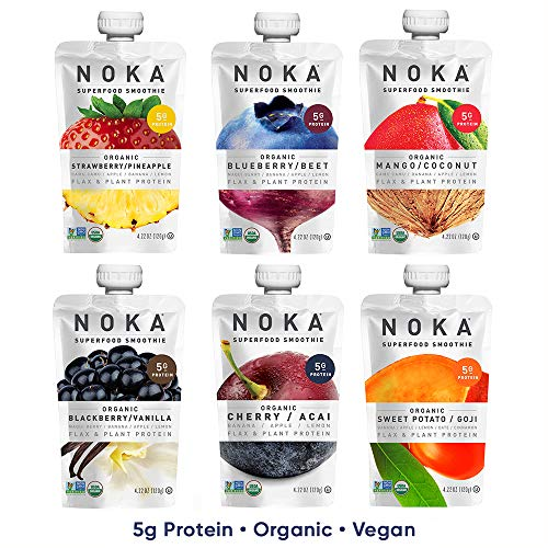 NOKA Superfood Pouches (6 Flavor Variety) 6 Pack | 100% Organic Fruit And Veggie Smoothie Squeeze Packs | Non GMO, Gluten Free, Vegan, 5g Plant Protein | 4.2oz Each