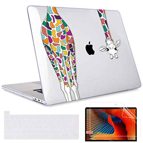 May Chen Case for MacBook Pro 16 inch 2019 Releae A2141 with Screen Protector Keyboard Cover Skin for New 16 inch MacBook Pro Case with Touch Bar Soft Touch Plastic Hard Shell - Crystal Clear Giraffe