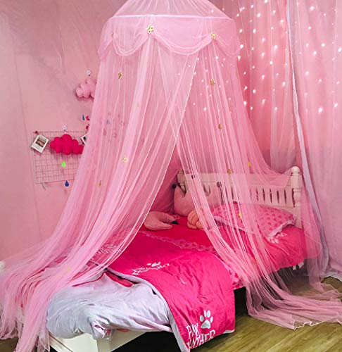 Nattey Comfort Princess Bed Canopy Curtain for Girls Gift(Pink Star)