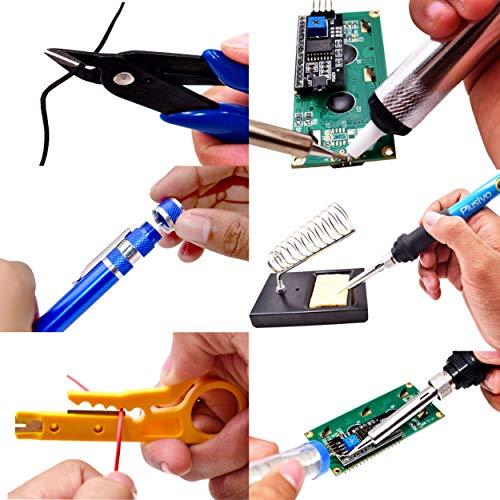 Soldering Iron Kit - Soldering Iron 60 W Adjustable Temperature, Digital Multimeter, Stand, Soldering Iron Tip Set, Desoldering Pump, Solder Wick, Tweezers, Rosin, Wire - [110 V, US Plug] from Plusivo