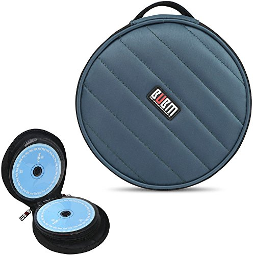 BUBM 32 Capacity CD/DVD Wallet, 230D Space Twill Cover, Round Shape - Darkcyan