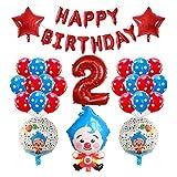 JSJJATF Globos 39 unids Historieta Payaso Foil Balloons 30 Pulgadas Número Air Globos Niños Feliz Cumpleaños Decoraciones Fiesta Niños Juguetes Regalo (Color : 02)