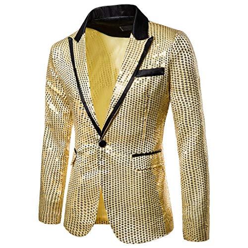 Baohooya Chaqueta de Trajes para Hombre - Lentejuelas de Oro Trajes de Chaqueta Slim Fit Casual Traje de Rendimiento Banquete Ceremonia Traje Al Estilo Occidental (L, Amarillo)