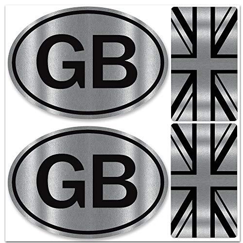 Biomar Labs® Set de 4pcs Pegatina Vinilo Adhesivo Bandera de Reino Unido Union Jack UK Gran Bretaña GB Flag Británico para Coches Auto Moto Casco Scooter Bicicletas Ordenador Portátil D 59