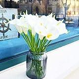Amajoy 24PCS Artificiale Bianco Calla Lily Bouquet da Sposa Fiori Artificiali Real Touch Flowers per Decorazioni per la casa Decorazione per Feste di Nozze