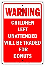 Warning Children Left Unattended Funny Aluminum Metal Sign Solid Material Display Board