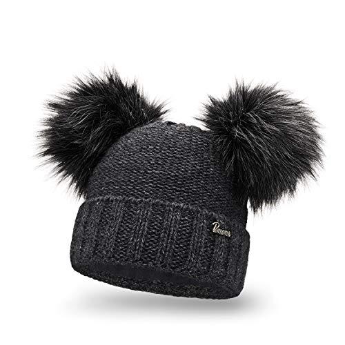 PaMaMi Damen Thermo Wintermütze | warme Strickmütze mit Zwei Bommeln | Gestrickte weiche Bommelmütze mit Fleece | Slouch Beanie Hergestellt in EU | Farbenauswahl M1 (Dark Grey)
