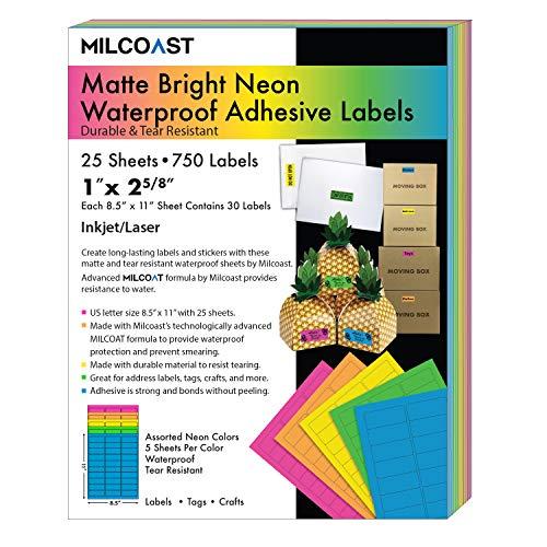 "Milcoast Bright Neon Matte Waterproof Tear Resistant Address Labels - 1"" x 2-5/8"" for Inkjet/Laser Printers - 5 Color Pack - 750 Labels (25 Sheets)"