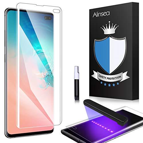 Alinsea Verre Trempé Galaxy S10 plus [1 Pièce], [3D Couverture Maximale] [Compatible avec le capteur d'empreinte digitale] [Colle plein écran] Film Protection écran pour Samsung Galaxy S10+/plus