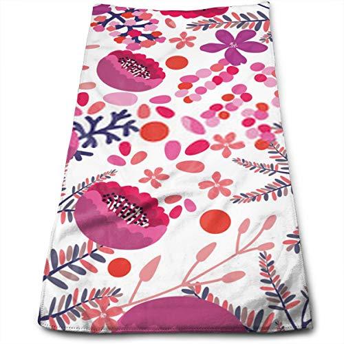 YudoHong Patrón Floral Transparente en Colores de Moda Flores de Color Rosa carmesí y púrpura Ramas de los árboles Hojas sobre un Fondo Blanco Fondo de Pantalla Dibujado a Mano Fas
