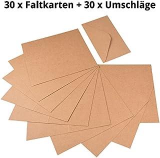 60 piezas. Juego de tarjetas plegables de papel de estraza y sobres de cartón natural para tarjetas de felicitación y de felicitación, tarjetas de invitación, tarjetas de Navidad para crear