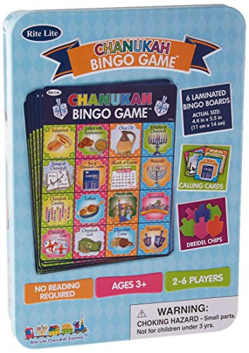 Rite Lite Chanukah Bingo Game - Fun Hanukkah Party Game for All Ages In a Collectible Tin