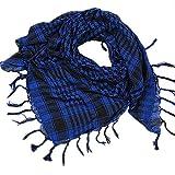 DEELIN Womens Fashion 1PC Unisex Men Arab Shemagh Keffiyeh Palestine Scarf Shawl Wrap Winter Warm Ladies Large Plaid Scarf 103cmX103cm Blue