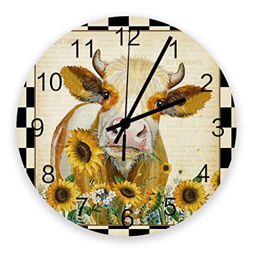 SIMIGREE Retro 12 Inch Waterproof Wall Clock, Silent Non-Ticking Battery Operated for Home Classroom Conference Room Wall Decorative Clock - Western Country Farmhouse Cow with Sunflower Lattice