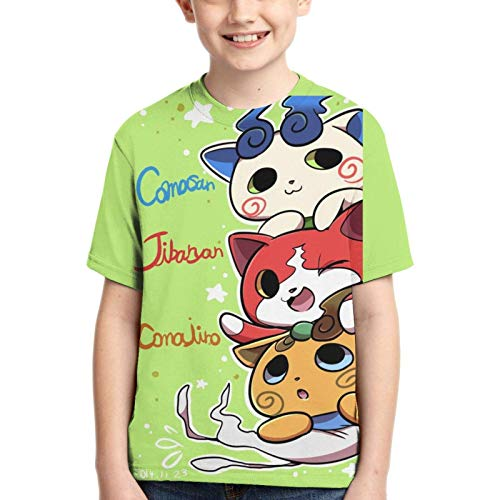 XCNGG Niños Tops Camisetas Boy T-Shirt Yo-Kai Watch 3D Printed Teenage Youth Boys Girls Short Sleeves Large