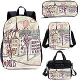 Paris Ensemble sac à dos d'école et sac à déjeuner 17 cm