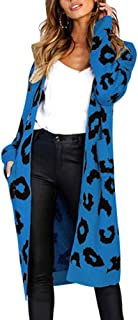 Chatinction Women's Leopard Print Open Front Long Sleeve Knit Cardigan Sweater Coat with Pocket S-XL