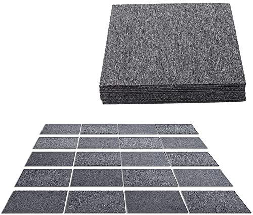 uyoyous 20 Stück Teppichfliesen Selbstklebend Teppichbodenfliesen Quadratische Teppichboden Bodenfliesen 50x50cm Strapazierfähig Teppich Fliesen mit Klebepatch für Indoor Outdoor Größe:5 m2 (Grau)