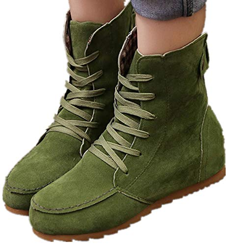 Faionny Women Flat Ankle Boots Lace-Up Boots Suede Leather Shoes Fashion Sneakers Snowshoes Sandals Green