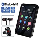 MP3 Player, MP3 Player with Bluetooth, 3.0' Full Touchscreen HD Video Mp4 Player, 16GB Portable HiFi Lossless Sound Mp3 Music Player with FM Radio, Supports up to 128GB TF Card Black